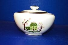 Knowles China The Twin Oaks Dinnerware Sugar Bowl w/ Lid Green House Trees