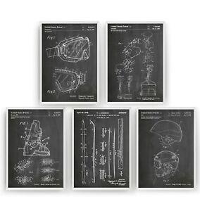 Skiing Set Of 5 Patent Prints - Ski Poster Wall Art Decor Gift - Unframed