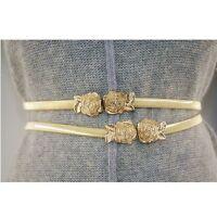 Lady Women Metal Rose Flower Elastic Belt Waist Decor Gold Strap Waistband New Z
