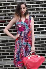 70er Kleid Tageskleid Sommerkleid Gr. 36 S Bunt Blumen Nylon True VINTAGE 60er