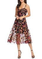 NEW Dress the Population Floral Embroidered Lace Dress in Black - Size L #D2822