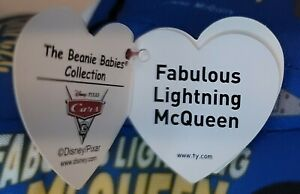 "TY Disney Cars 3 Plush Fabulous Lightning McQueen 7.5"" Soft Blue Toy w/tag"