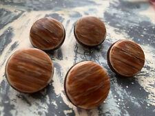 Vintage Brown Bakelite buttons x 5 1950s  22.5 mm
