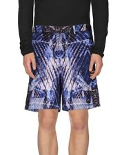 JUST CAVALLI Blue Printed Poplin Cotton Bermuda Shorts UK32 IT48 W32 MEDIUM