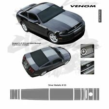 Ford Mustang w Lip Spoiler 2013 up Center Stripes Graphic Kit - Metallic Silver
