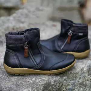 Retro Women's Casual Shoes Flat Low-Heel Zipper Round Toe Riding Ankle Boots New