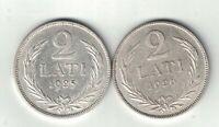 2 X LATVIA 2 LATI .835 SILVER COINS 1925 1926 .2685oz EUROPEAN BALTIC STATE