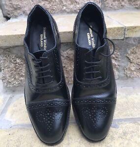 Samuel Windsor Brogues, Black Mens Shoes, High Shine Leather Lace Ups, Size UK 8