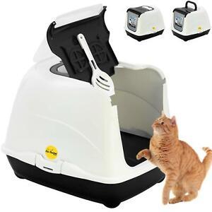 Large Hooded Litter Tray Black White Kitten Box Toilet +Scoop +Filter CatCentre®