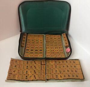 Vintage Mah-Jong Set 156 Pieces In Travel Zip Case Butterscotch Colour