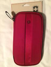 Victorinox Travel Organizer RFID Theft Protect Red Passport Zipper Swiss Army