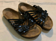 Birkenstock Sz 37 Granada Slide Sandal Black Leather Double Strap Sz  US 6