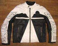 """"""" ROUTE 66 """" Herren- Motorrad- Lederjacke / Jacke in schwarz - weiß L ca. Gr. 52"""