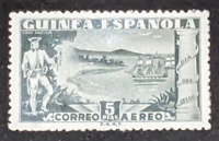 SPANISH COLONIES GUINEA 1949 STAMP DAY AIRMAIL 5 Ptas SAILING SHIPS UMM / MNH