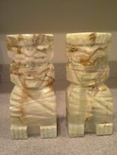 Vintage  Mayan Aztec Style Hand Chiseled / Carved  Marble Bookends Pair