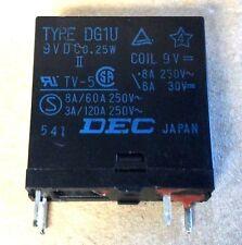 DEC RELAY TYPE DG1U 9VDC TV-5 0.25W 8A/60A 3A/120A 250V