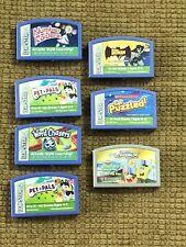 Lot of 7 Leapster Cartridges! Pet Pals batman Spongebob Puzzled Number Raiders