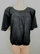 Forever New Black Top Size 6   100% Cotton With Silk Contrast