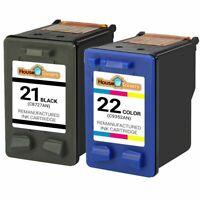 2-pk Black/Color Ink for HP 21 & 22 PSC 1401 1402 1403 1406 1408 1410 1417