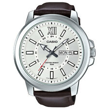NEW Casio MTP-X100L-7A Mens XL Watch BROWN Leather SILVER Dial Day Date BIG 52mm