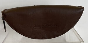 TOMMY BAHAMA Brown Leather Zippered Eyeglass Sunglass Case Only No Glasses