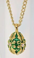 "Sale Faberge Inspired Fancy Scroll Design Enameled Green Egg Pendant 18"" Chain"