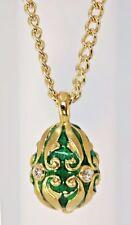 "Faberge Inspired Fancy Scroll Design Enameled Green Egg Pendant ~ 18"" Chain"