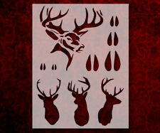 "Hunting Buck Head Tracks Rack Deer 8.5"" x 11"" Custom Stencil FAST FREE SHIP (94)"
