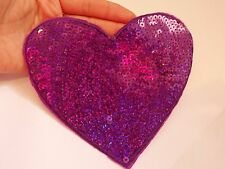 1 large sequin patches heart purple patch applique iron on sew motif hot fix