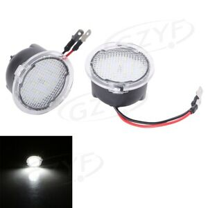 Pair LED Side Mirror Puddle White Lights For Ford 2009-2014 F150 RAPTOR