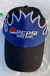 Pepsi Racing Strapback Dad Slouch Hat Blue Black Flame