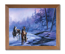 Indian Shadow Of Forest Horse Snow Wall Picture Honey Framed Art Print