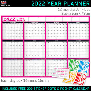 2022 Yearly Planner Annual Wall Chart Year Planner in PINK + FREE Sticker Dots