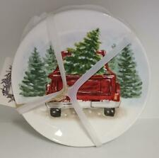 NWT Maxcera CHRISTMAS (4) Appetizer Plates Red Truck/Tree Holiday