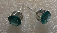 BRAND NEW AQUA ROUND SHAPE SILVER PLATED STUD EARRINGS
