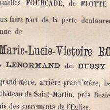 Marie Lenormand De Bussy Mme Rocque Château Saint-Martin Murviel Béziers 1882