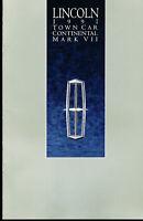 1991 Lincoln Original Car Sales Brochure - Mark VII Continental Town Car