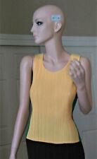 ISSEY MIYAKE Pleats Please Yellow & Green Sleeveless Top Tank Shirt JP3, US8