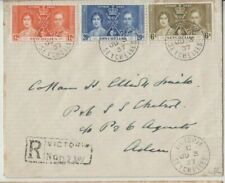 Stamps Seychelles 1937 Coronation set 3 plain FDC sent registered to Aden