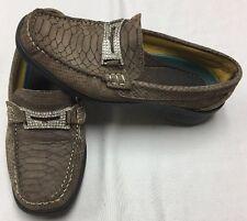 Helle Comfort Romu Croc / Snake Print & Rhinestones Loafers Slip On Size 39/8.5!
