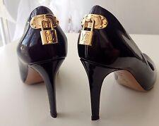 LOUIS VUITTON in Rare Dark-burgundy Leather Gold Lock logo LV Pumps Heels 38 IT