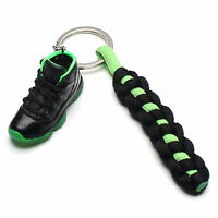 3D Mini Sneaker Shoes Keychain Retro Black Green With Strings for Air Jordan 11