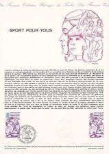 Document Philatélique Timbre  1er Jour : 21/10/ 1978 - Sport pour tous