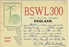 Very old QSL from S. J. A. Nicholl, Bona Vista, Dartmouth (BSWL 300) March 1939