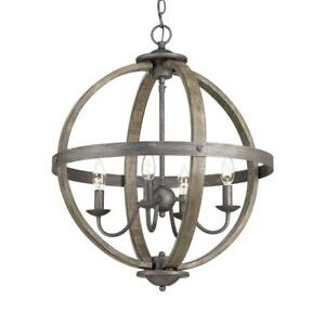Keowee Collection 19.88 in. 4-Light Artisan Iron Orb Chandelier with Elm Wood Ac