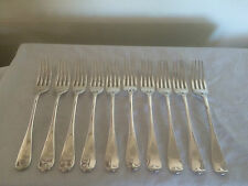 "BEAUTIFUL SET OF 10 QUALITY SILVER PLATED TABLE FORKS (B B & S) 7"" {DF 10926}"