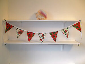 Mini  Christmas Fabric Bunting 1 metre vintage shabby chic handmade