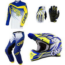 ONeal Element Blue motocross MX dirtbike gear - Helmet Jersey Pants Gloves Combo