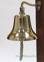 """Nautical Marine Solid Cast Brass Ships Bell 8"""" Wall Boat Decor New"""