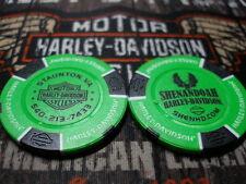 Harley Neon Green & Black Poker Chip Shenandoah Harley Davidson Staunton, VA